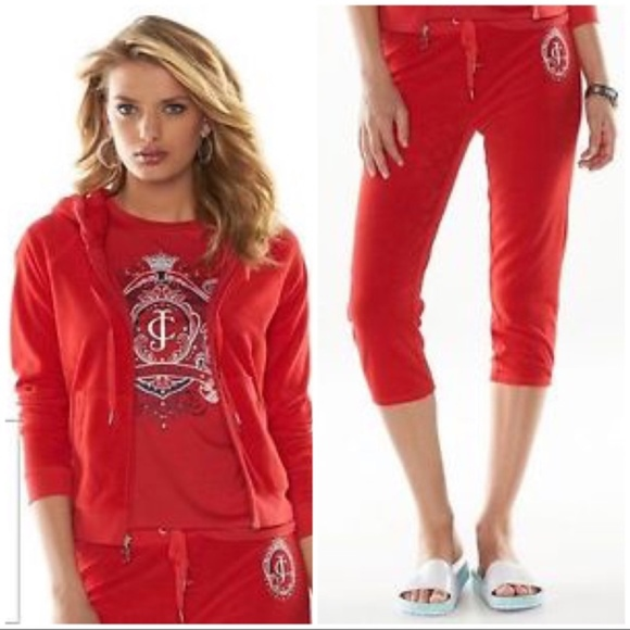 12084ecd6167 Juicy Couture Red Crest Terry Capri Tracksuit NWT